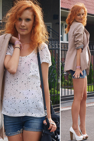 white Bershka heels - light pink Zara blazer - white Zara t-shirt
