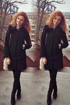 black Mango jeans - black Zara coat - beige Mango bag
