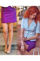 purple Zara skirt - periwinkle pearls Miu Miu jacket