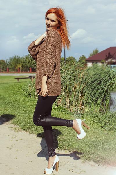 black Mango leggings - mustard Zara sweater - white Bershka heels