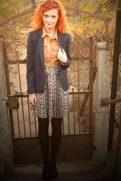 24164772d9 navy Zara blazer - bronze H&M shirt - leopard print River Island skirt