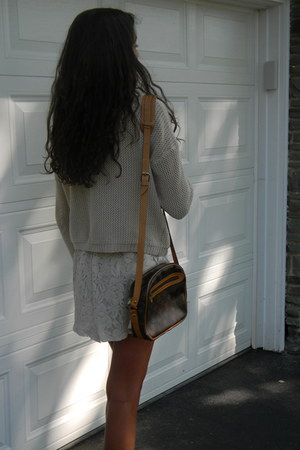 camel lace dress - camel knit sweater - Louis Vuitton bag