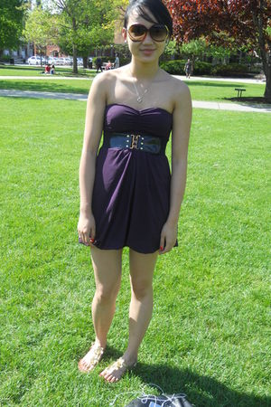 purple Urban Outfitters dress - gold Steve Madden shoes
