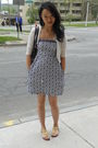White-moms-closet-cardigan-blue-clothing-swap-dress-gold-steve-madden-shoes