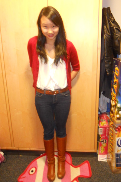 red moms closet cardigan - white Lux top - brown  belt - blue Uniqlo jeans - bro