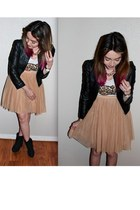H&M jacket - Forever 21 boots - H&M top - Forever 21 skirt