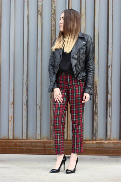 H&M jacket - Nasty Gal blouse - Topshop pants - brian atwood heels