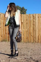 Forever 21 jeans - Vera Wang Princess vest - brandy melville top - PacSun heels