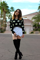 priceless sweater - Forever 21 boots - Zara skirt
