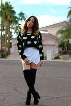 priceless sweater - Forever 21 boots - Zara skirt