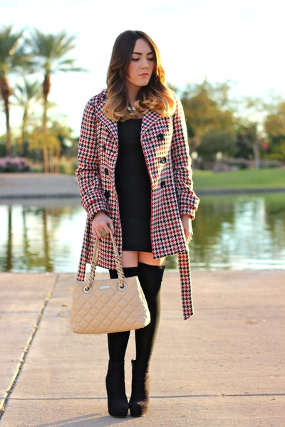 Forever 21 coat - Forever 21 boots - kate spade bag - Forever 21 stockings