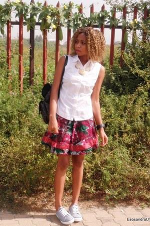 white mark and spenser shirt - ruby red highlow skirt UTD skirt