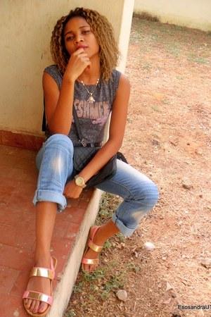 light blue UTD jeans - gray UTD blouse