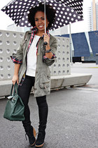 black Mango boots - forest green Bershka coat - dark green BLANCO bag
