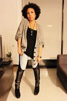 blue Mango jeans - black Mango boots - black Stradivarius t-shirt