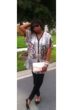 white kimono Zara dress - black Boston Proper leggings - light pink clutch H&M b