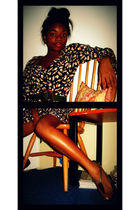 blue vintage ecote Thrift Store dress - gold deenaozzy Urban Outfitters shoes