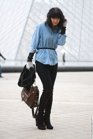 black Urban Outfitters jeans - blue Urban Outfitters shirt