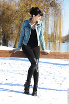 blue H&M jacket - black H&M leggings - black ASH shoes