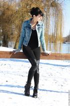 blue H&M jacket - black H&M leggings - black ASH shoes
