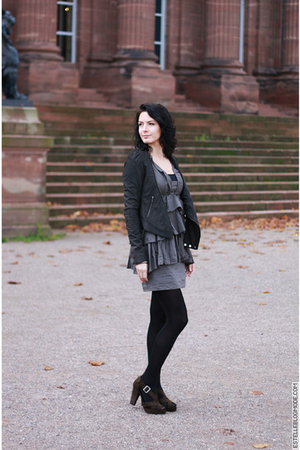 gray The Kooples boots - black All Saints jacket - green Zara dress