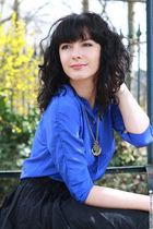 blue vintage blouse - beige asos accessories - black H&M skirt