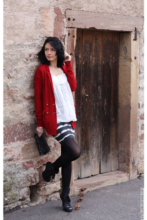red The Kooples cardigan - black American Apparel skirt - black ASH shoes