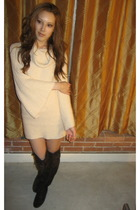 beige Bebe dress - brown Forever 21 boots