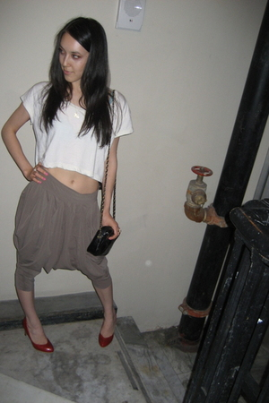 American Apparel shirt - cropped harem pants - purse - shoes