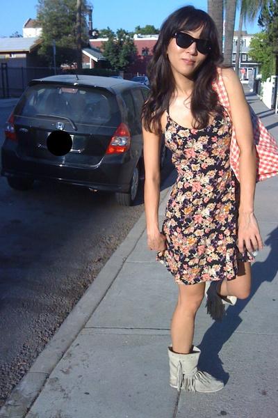 Forever21 sunglasses - vintage from Ebay dress - Minnetonka boots - purse
