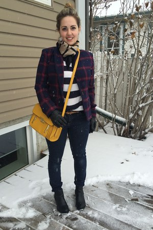 blue plaid Target blazer - mustard bag
