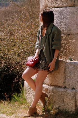 camel pull&bear boots - brown Kookai dress - army green BLANCO jacket