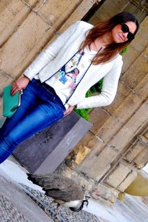 white Zara blazer - sky blue Zara bag - black Topshop sunglasses
