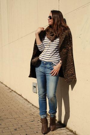 brown hakei boots - brown Zara coat - blue Alcott jeans - brown Marc Jacobs bag