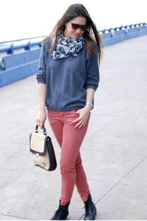 coral Zara jeans - black Zara boots - charcoal gray Zara sweater