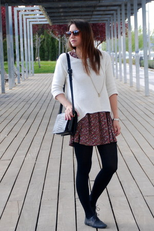 black Topshop shoes - brick red pull&bear dress - cream Zara sweater