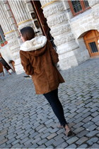 dark brown Zara coat - dark brown Mango boots - black Zara jeans