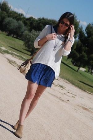 cream Zara sweater - brown pull&bear boots - blue Zara dress - brown BLANCO bag