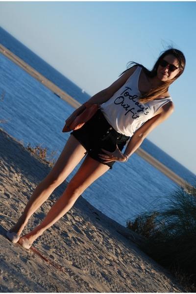HyM t-shirt - Dorothy Perkins shoes - hakei bag - pull&bear shorts