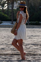 white Zara dress - bronze HyM hat - bronze fun&basics bag