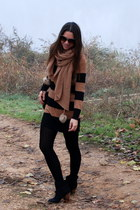 black Zara boots - dark brown HyM dress - black Bimba y Lola bag