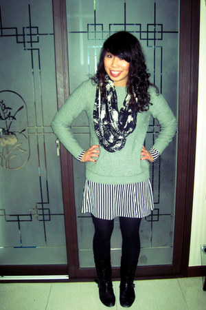Steve Madden boots - striped Urban Outfitters dress - sweater - tights
