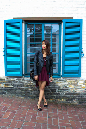 black studded Zara blazer - maroon assymetric Forever 21 dress