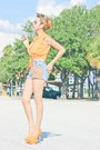 Periwinkle-customized-eteclea-shorts-light-orange-thrifted-vintage-top
