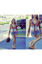 chiffon Morgan de Toi blouse - Louis Vuitton bag - jeans papaya shorts