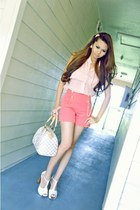 unknown shorts - LV bag - unknown blouse - Privileged heels
