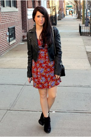 red Forever 21 dress - black Topshop shoes - black necessary clothing jacket