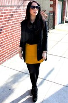 yellow Zara skirt - black Aldo shoes - black madewell blazer - black LF top