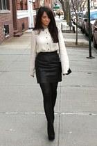 black American Apparel skirt - black Chanel bag - black Topshop wedges