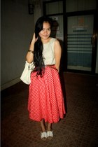 ruby red polka dots DKNY skirt - eggshell cropped Zara top
